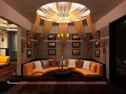 living room furniture and ceiling design at night of halloween