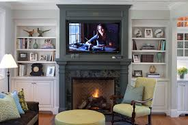 Console Bookshelves by Electric Fireplace Media Console Family Room Traditional With
