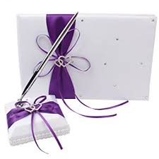 purple guest book ourwarm wedding guest book and pen set heart