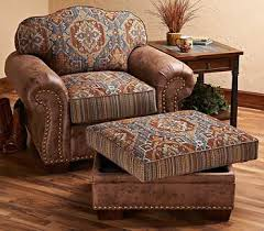 Southwest Cherokee Upholstered Chair Ottoman Wild Wings