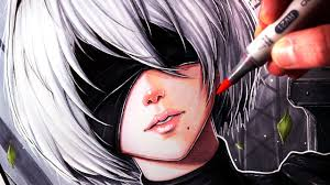 copic markers black friday let u0027s draw 2b from nier automata fan art friday youtube