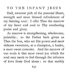 prayer to the infant jesus commentaries notes considerations