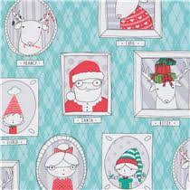 turquoise fabric santa reindeer picture frame ink