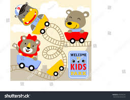 animal kids playing roller coaster vector stock vector 565555192