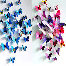 home decor 3d stickers 12pcs lot colorful pvc 3d butterfly wall stickers home decor cute