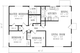 ranch style house plan 3 beds 2 00 baths 1040 sq ft plan 1 148