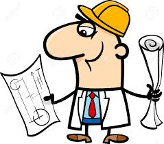 cartoon illustration of funny structural engineer with plans
