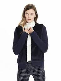 banana sweater banana republic 128 navy faux fur sweater jacket cardigan nwt sz