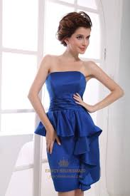 short strapless satin peplum dress royal blue strapless cocktail