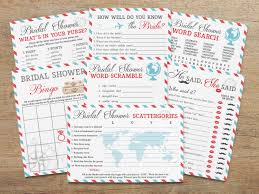 travel bridal shower printable games package game set