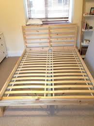 as new ikea pine double bed frame and mattress in pristine