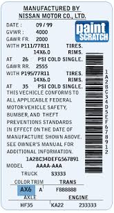 nissan touch up paint color code and directions for nissan