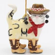 cowboy cat with horseshoes and cowboy boots tree