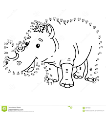 dot to dot rhinoceros game stock vector image 59846300