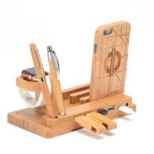 Iphone 5 Desk Stand by Wood Bamboo Charging Dock Station Charger Stand Holder For Apple