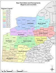 Map Of Counties In Pennsylvania by A New York And Pennsylvania State And County Boundaries
