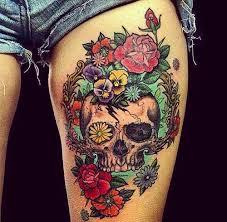 floral skull thigh tattoos skull thigh