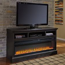 ashley furniture sharlowe lg tv stand with fireplace in charcoal