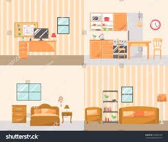 set colorful room interiors furniture icons stock vector 560085748