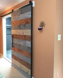Bedroom Barn Doors by Our Multi Stain Horizontal Plank Barn Door Installed In A Master
