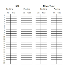 Stat Sheet Template Sle Football Sheet 9 Documents In Pdf