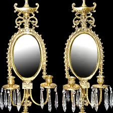 Vintage Crystal Sconces Pr Th C Bronze Baroque Style Wall Sconces Hung With Crystal