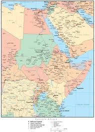 Africa Map With Capitals by Eastern Africa Map With Countries Cities And Roads U2013 Map Resources