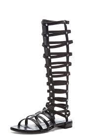 stuart weitzman nappa leather gladiator sandals in black fwrd