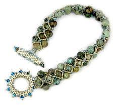beading bracelet clasp images Turquoise toggle beaded bracelet instant download pattern peyote jpg