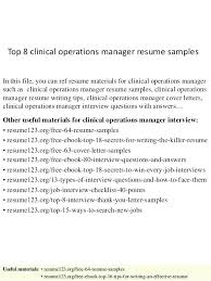 operations manager resume summary statement sample for top 8