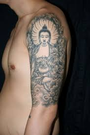 attractive man left half sleeve buddhist tattoo buddhist tattoo