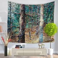 painting tree wall tapestry forest scenic large fabric printed