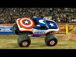 monster truck video for monster jam captain america freestyle crash monster truck youtube