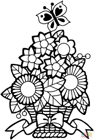 butterfly and a bucket of flower coloring page supercoloring