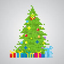 christmas tree 8 bit pixel style vector stock vector image 55590947