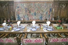 dining room and table settings at hearst castle