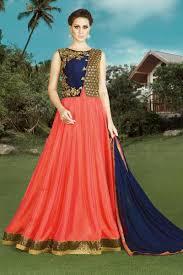 impressivea blue and peach color banglori silk designer
