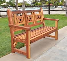 outdoor wooden bench with design for garden seating