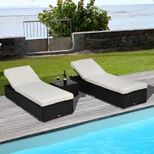 Chaise Lounge Patio Aosom Outsunny 3pc Rattan Chaise Lounge Chair Set With Table