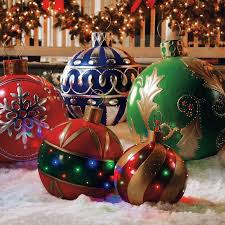 lighted ornaments outdoors tree lawn yard
