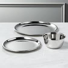 stainless steel plates and bowls cb2