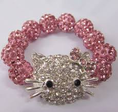 rhinestone bracelet charms images Gifts bags hot sale rhinestone children jewelry pink hello kitty jpg