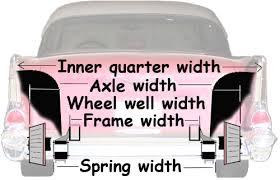 67 mustang rear end width 55 57 rear tire size