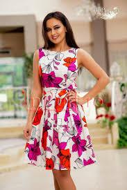 rochii de vara rochie de vara alba cu imprimeu floral