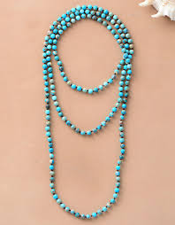 long turquoise necklace images Classic beads knot layering long necklace 6mm natural stone women jpg