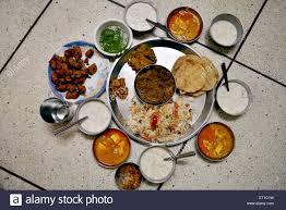 jodhpur cuisine thali of food jodhpur rajasthan india stock photo
