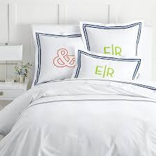 Monogrammed Comforters Italian Double Ribbon Duvet Sham Mark And Graham