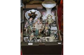 a box of capodimonte ornaments including coloured bisque figures