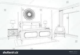 linear sketch interior room plan sketch stock vector 714352372