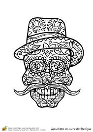 Coloriage crâne en sucre mexicain grande moustache